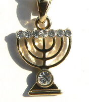 Jewish Menorah Pendant & Necklace Gold Tone w/Shiny Crystals Holy Land Jerusalem