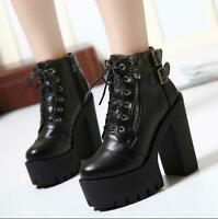 Womens Punk Zip Buckle Strap Gothic Shoes Chunky High Heel Platform Ankle Boots