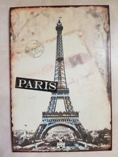 "Metal Wall Art Paris France Post Card Travel Theme Eiffel Tower 10.5"" x 7.25"" FS"