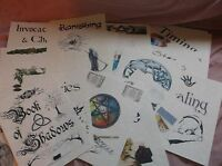 Book of Shadows 19 Divider / Cover Page Lot on parchment & color pics #DIV7