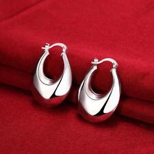 Womens 925 Sterling Silver Elegant Oval Shaped 36mm Hoop Pierced Earrings #E149