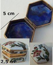 boite à bijoux en laiton émaillé, collection, boite à pilules, pilbox, **04-C3e