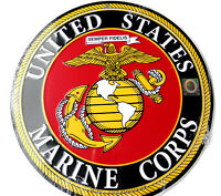 MARINE CORPS USMC ROUND ALUMINUM SIGN 12 INCHES MADE IN THE USA