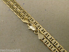 Men Lady Yellow Gold Plated Flat Mariner Necklace Chain 20in Inch Long 4mm Wide