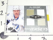 2010-11 UD BLACK DIAMOND Ryan MALONE / Quad Game Used Jersey Tampa Bay LIGHTNING