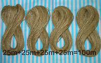 100m -200m Natural Thin Jute Twine Hessian Burlap Rustic String Wedding Crafts