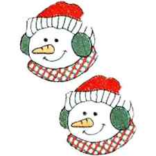 CHRISTMAS EMBROIDERED IRON ON SNOWMAN HEAD SET OF 2 APPLIQUE 2042-J