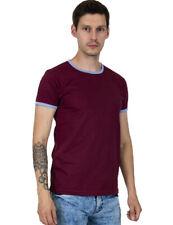 Relco Mens Classic Ringer T-Shirt T Shirt Burgundy Blue Vintage Retro Mod Style