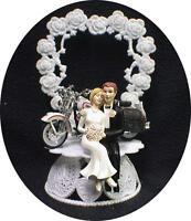 Wedding Cake Topper w/diecast white & black Harley Davidson Motorcycle bike SEXY