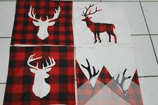 Set of 4 Christmas Pillow Covers ,Buffalo Plaid With Deer 17 1/4X 18""