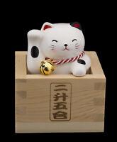 Fuku Masu Gato Japonés 8.8cm Cerámica Fabricado en Japón Glück Maneki Neko 40643