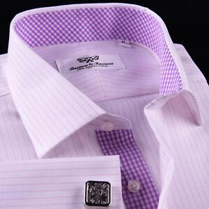 Sexy Pink Stripe Men's Twill Luxury Dress Shirt Business Formal Plaids & Checks