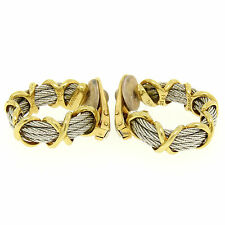 FRED Paris Force 10 18K Solid Yellow Gold & Steel Cable X Clip On Hoop Earrings