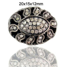 0.925 Sterling Silver Pave Diamond Spacer Designer Bead Finding Handmade Jewelry