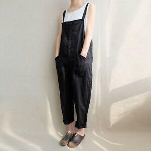 Women Linen Jumpsuit Pants Ladies Loose Sleeveless Pocket Casual Playsuit Size D