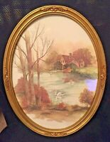 """HOMCO Swan On Lake by F. Nissan Oval Gold Framed Print w/ Glass 17x13"""" Home Int."""