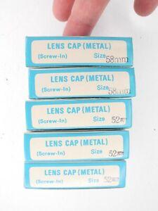 NEW NOS Lot Of 5x Kalt Screw In Metal Front Camera Lens Caps 52mm x3 / 58mm x2