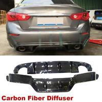 Fit For Infiniti Q50 2014-2016 Rear Bumper Diffuser Lip Body Kit Carbon Fiber
