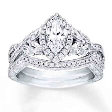 Ring Wedding Band Bridal Set 5-10 Sterling Silver .925 Cz Marquise Engagement