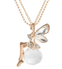 Golden Rhinestone Fairy Crystal Ball Pendant Long Double Chain Necklace NEW