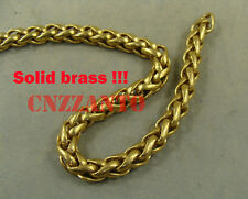 1 foot solid brass wheat chain 8mm wide for wallet chain or Fob chain craft use
