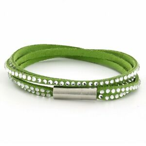 Womens Green Leather Beaded Bracelet, Girls Layer Stack Studded Wristband
