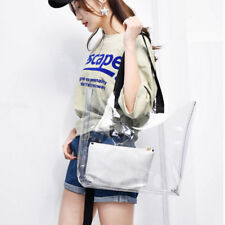 Women Clear Transparent Shoulder Bag Plastic PVC Beach Tote Jelly Handbag Set