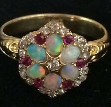 Antique 18ct Opal, Diamond & Ruby Cluster Ring