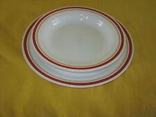 Corelle Cinnamon DINNER PLATE & RIM SOUP BOWL orange & beige band