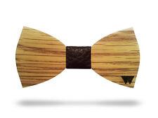 STOCK - 10 Papillon uomo in legno NATURAL con nodo in pelle colori misti