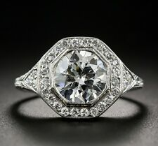 Vintage Art Deco 3.00Ct White Round Diamond Engagement Ring 14K White Gold Over