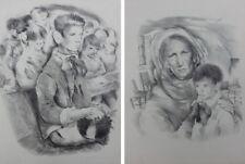 Mariette LYDIS : Jeune homme / Vieille femme enfant - 2 GRAVURES  #1947