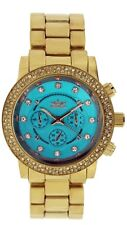 Softech Gold Turquoise Blue Face Diamante Bracelet Analog Wrist Watch Quartz