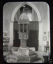 Glass Magic Lantern Slide WALSINGHAM CHURCH NORFOLK THE FONT C1900 ENGLAND