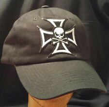 Iron Cross Skull Solid Black Baseball Cap