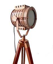 Vintage Floor Lamps Antique Copper Searchlight Tripod Wooden Tripod Home Decor