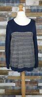 Next Blue Cotton Blend Striped Pattern Ladies Jumper Size UK 16