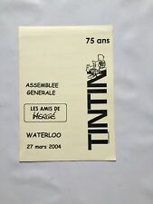 TINTIN MENU ASSEMBLEE GENERALE LES AMIS HERGE / 27 mars 2004 / WATERLOO / BD