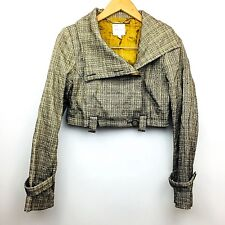Walter Womens Blazer Jacket Open Front Cropped Lined Wool Blend Tweed Size 8
