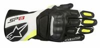 GUANTI MOTO ALPINESTARS SP-8 V2 BLACK WHITE YELLOW FLUO GLOVES PROT CERTIFICATE