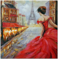 Romance Pursuit - Hand Painted Paris Street Landscape Oil Painting On Canvas