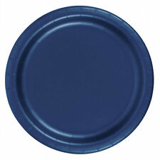 "24 Plates 6 7/8"" Paper Dessert Plates Wax Coated - Navy Blue"