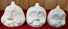 3 Pumpkins Jack O Lanterns - Halloween Ceramic Bisque Ready to Paint - Dona's