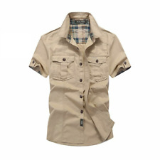 Plaid Collar Shirts For Men Short Sleeves Casual Top Outwear Cargo Fashion Suits