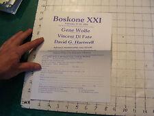 1984 BOSKONE XXI FLYER; Gene Wlofe, vincent di fate, david hartwell guests