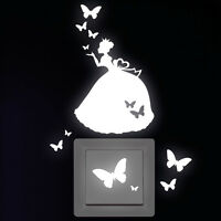 Wandtattoo Leuchtaufkleber Prinzessin Schmetterlinge für Steckdose Lichtschalter