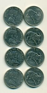 4 DIFFERENT 1 PISO COINS w/ BULL from the PHILIPPINES (1991, 1992, 1993 & 1994)