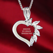 Marquise Swirl Satin Heart Necklace in SOLID 925 Sterling Silver - NEW!