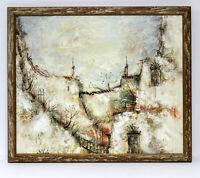 Abstract Castle  20 x 24 Art Oil Painting on Canvas w/Custom Frame