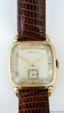Vintage Hamilton Cushion Case 14K Gold Filled Mens Leather Wrist Watch